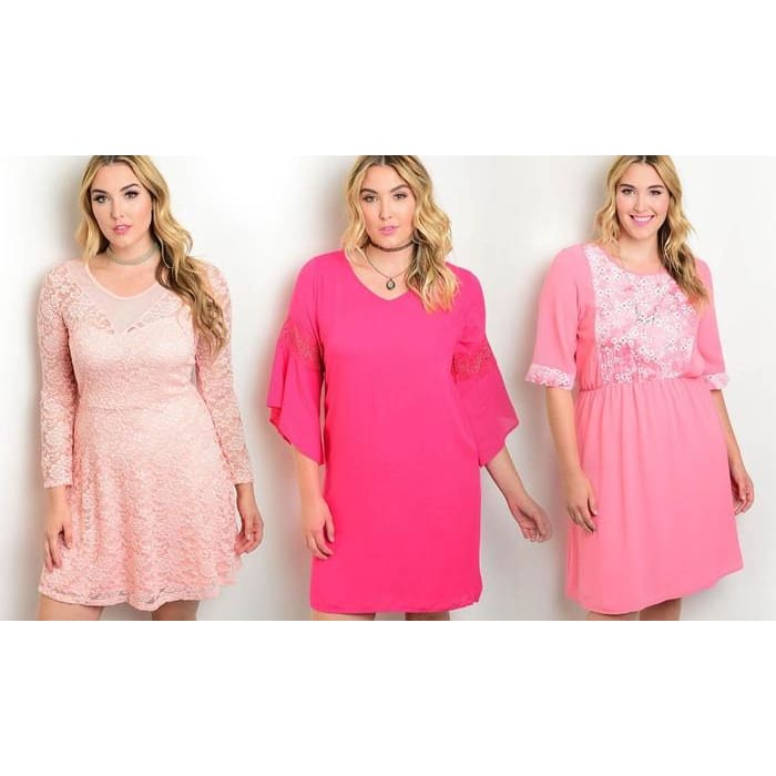 Womens Spring Pink Dresses In Plus Sizes