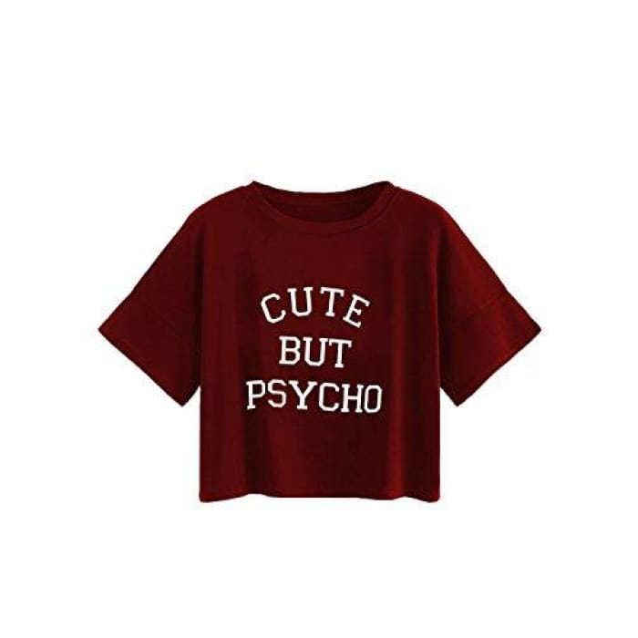 a339373b Womens Summer Short Sleeve Crop Top Letter Print Casual T-Shirt Small /  Burgundy Knits