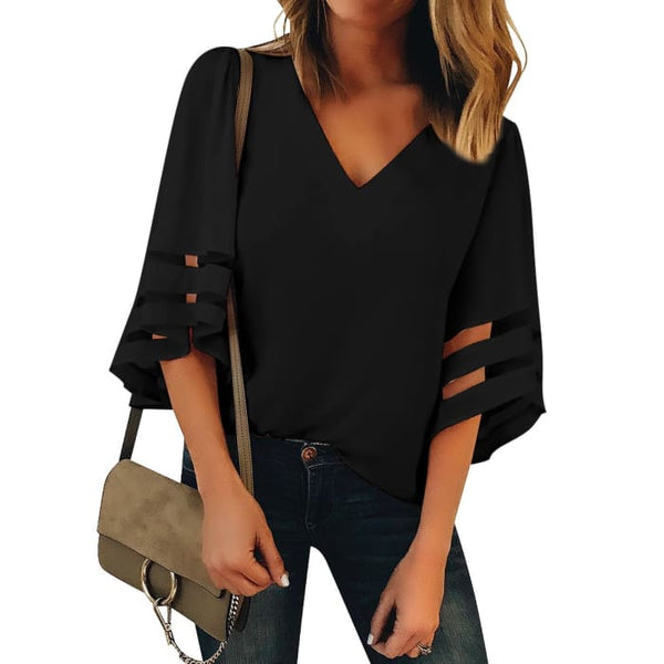 Womens V Neck Mesh Panel Blouse 3/4 Bell Sleeve Loose Top Shirt