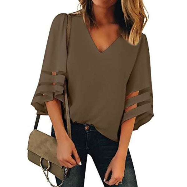 Womens V Neck Mesh Panel Blouse 3/4 Bell Sleeve Loose Top Shirt Brown