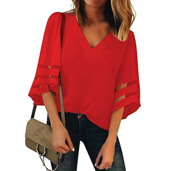 Womens V Neck Mesh Panel Blouse 3/4 Bell Sleeve Loose Top Shirt Red