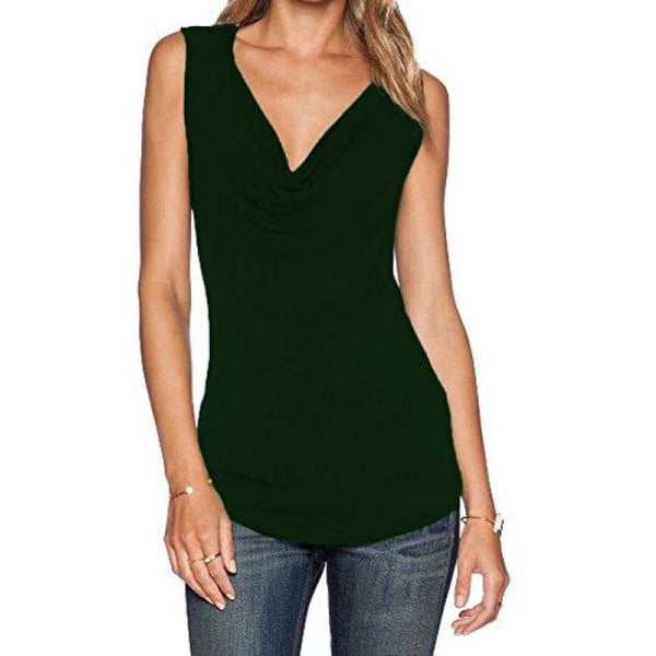 Womens V Neck Sleeveless Sexy Blouse Stretch Tank Tops