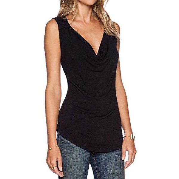 Womens V Neck Sleeveless Sexy Blouse Stretch Tank Tops Small / A_Black
