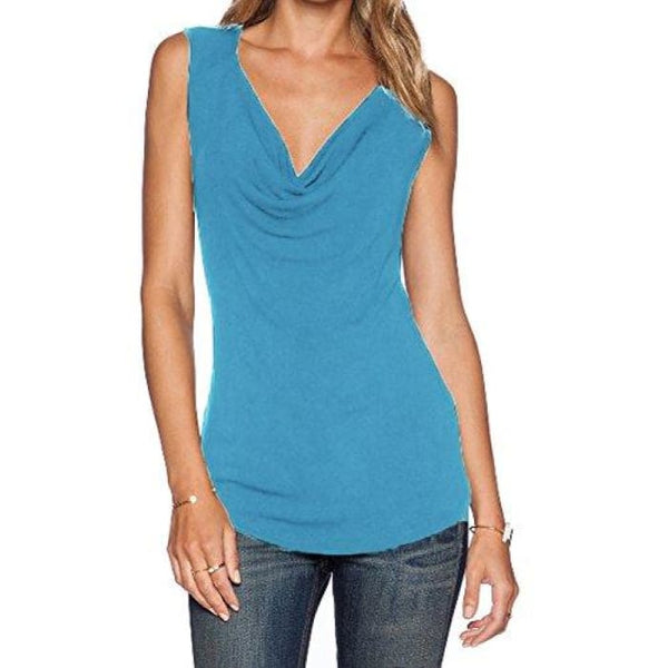 Womens V Neck Sleeveless Sexy Blouse Stretch Tank Tops Small / A_Blue