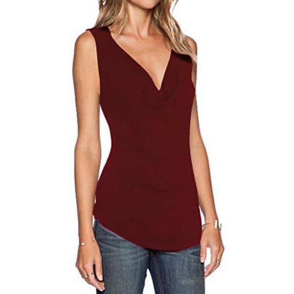 Womens V Neck Sleeveless Sexy Blouse Stretch Tank Tops Small / A_Burgundy
