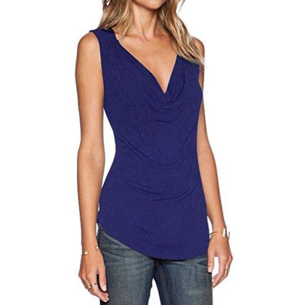 Womens V Neck Sleeveless Sexy Blouse Stretch Tank Tops Small / A_Darkblue