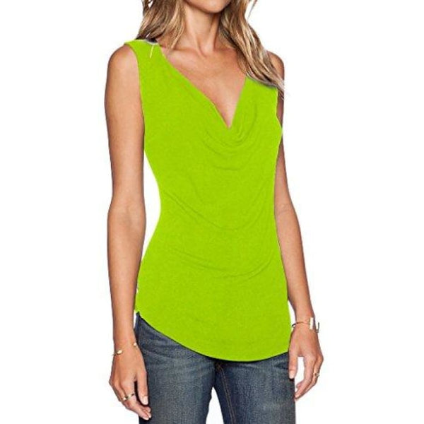 Womens V Neck Sleeveless Sexy Blouse Stretch Tank Tops Small / A_Fluorescence