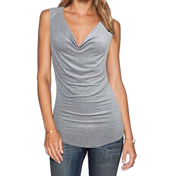 Womens V Neck Sleeveless Sexy Blouse Stretch Tank Tops Small / A_Grey