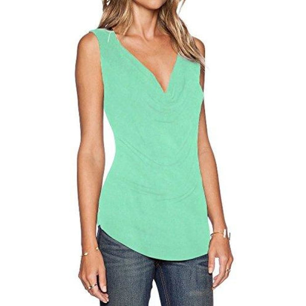 Womens V Neck Sleeveless Sexy Blouse Stretch Tank Tops Small / A_Mint