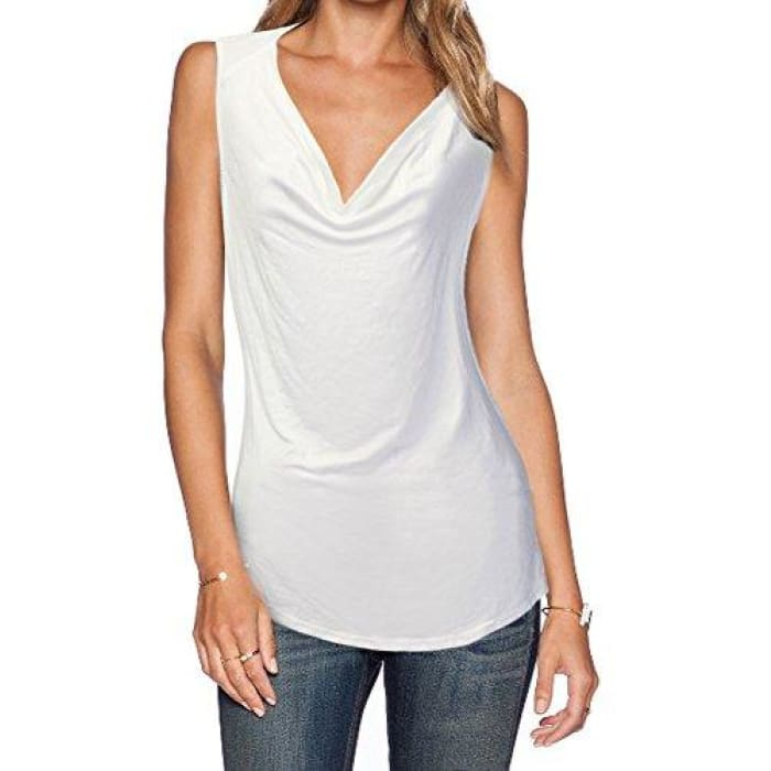 Womens V Neck Sleeveless Sexy Blouse Stretch Tank Tops Small / A_Off White