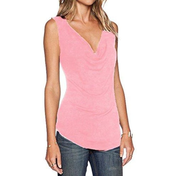 Womens V Neck Sleeveless Sexy Blouse Stretch Tank Tops Small / A_Pink