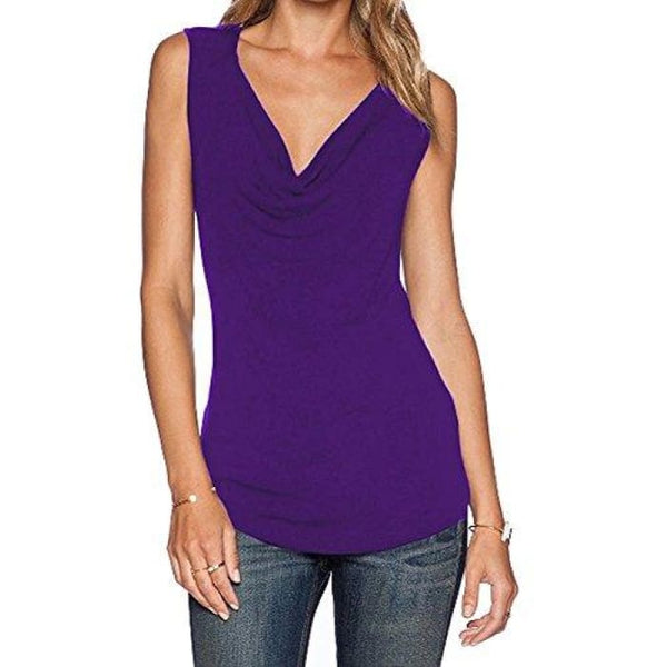 Womens V Neck Sleeveless Sexy Blouse Stretch Tank Tops Small / A_Purple