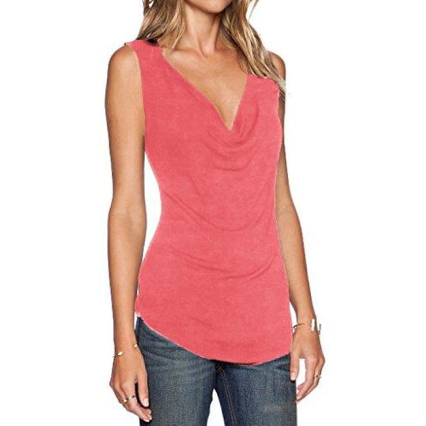 Womens V Neck Sleeveless Sexy Blouse Stretch Tank Tops Small / A_Watermelonred