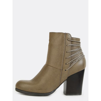 Wrapped Cord Chunky Heel Booties Taupe Boots