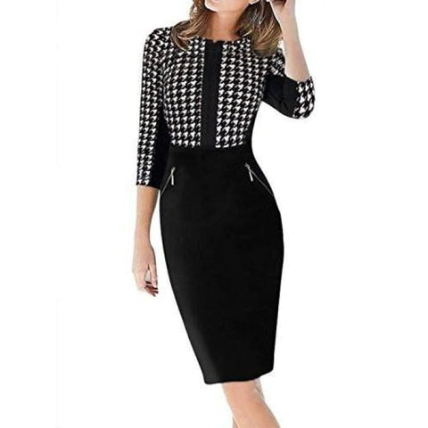 Yeez Womens 3/4 Sleeve Houndstooth Print Zipper Formal Business Dress Back To Search Results For Woman Dre