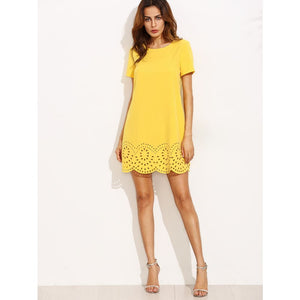Yellow Short Sleeve Hollow Hem Shift Dress Dresses