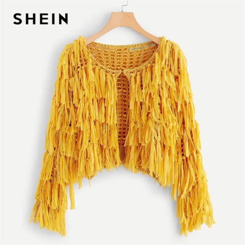 Yellow Solid Hook And Eye Closure Layered Fringe Cardigan Sweaters