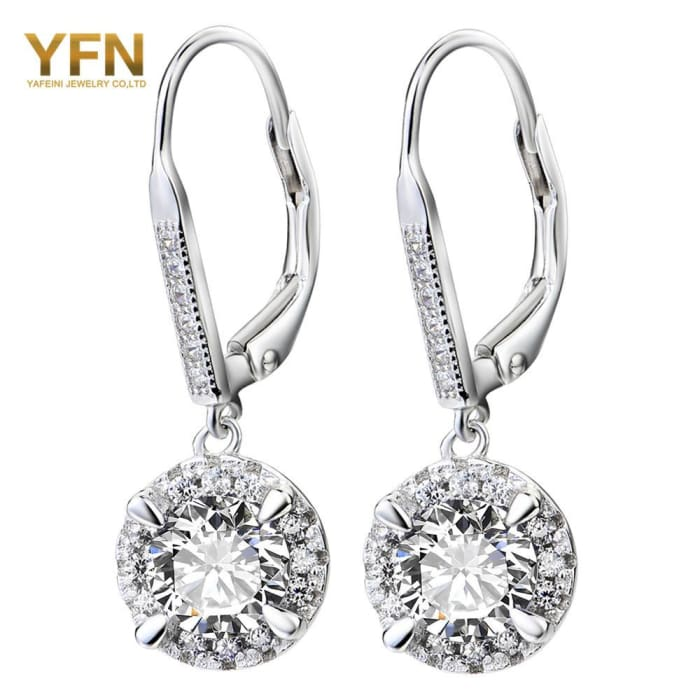 Yfn 2016 Brincos Genuine 925 Sterling Silver Earrings Fashion Jewelry White Cz Crystal Drop Earrings Gifts For Women Earrings
