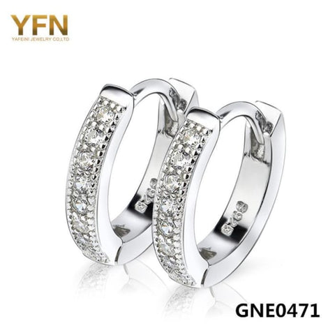 Yfn 2016 Brincos Genuine 925 Sterling Silver Women Hoop Earrings Top Quality Cubic Zirconia Earrings Fashion Jewelry Gne0471 Earrings