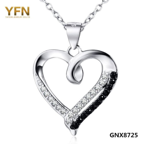 Yfn 2016 Collar Necklace 925 Sterling Silver Jewelry Black White Crystal Heart Pendant Necklace Valentines Gifts For Women Necklaces