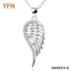 Yfn 2016 Fashion Jewelry 925 Sterling Silver Angel Wing Pendant Necklace Top Quality Cubic Zircon Necklace For Women Gnx0374 Necklaces