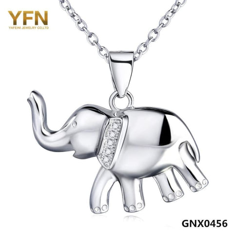 Yfn 2016 Fashion Jewelry 925 Sterling Silver Elephant Necklace Top Quality Cz Crystal Pendant Necklace For Women Gnx0456 Necklaces
