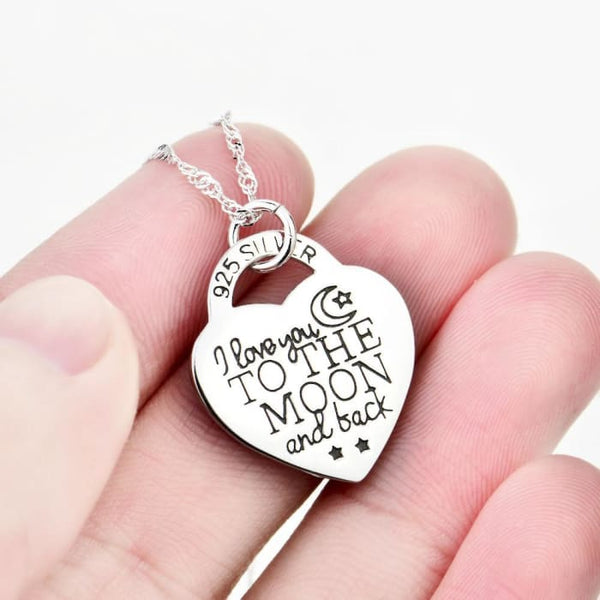 Yfn 2016 Genuine 925 Sterling Silver Heart Pendant Necklace I Love You To The Moon And Back Fashion Jewelry Necklace For Women Necklaces