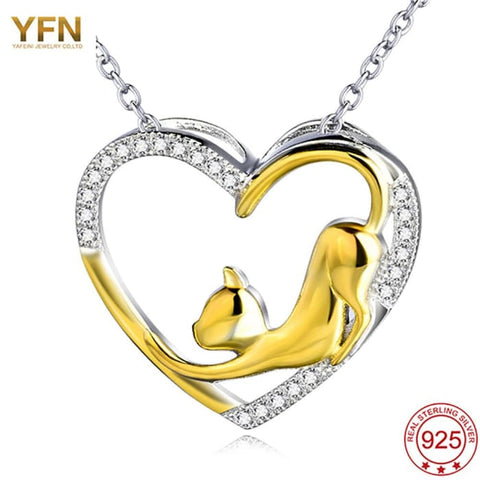 Yfn 2016 New 925 Sterling Silver Pendant Necklace Heart Women Luxurious Jewelry Gold Plated Cute Cat Pendants Necklaces Collier Pendants