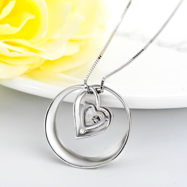 Yfn 925 Sterling Silver Cubic Zirconia Pendant Necklaces Heart Design I Love You To The Moon And Back Necklace Fashion Jewelry Necklaces