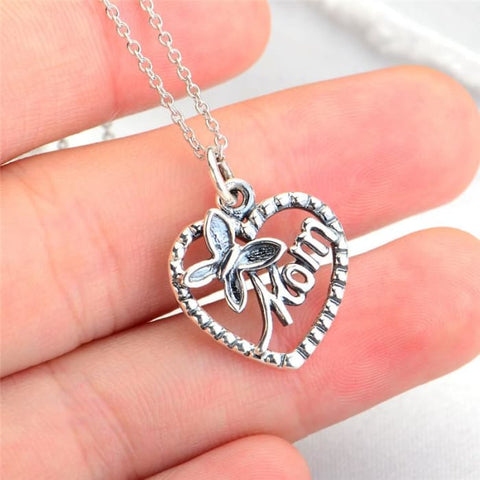 Yfn 925 Sterling Silver Pendant Necklace For Mom Black Butterfly And Mothers Day Heart Pendants 18Inches Chain Necklace Gnx8826 Necklaces
