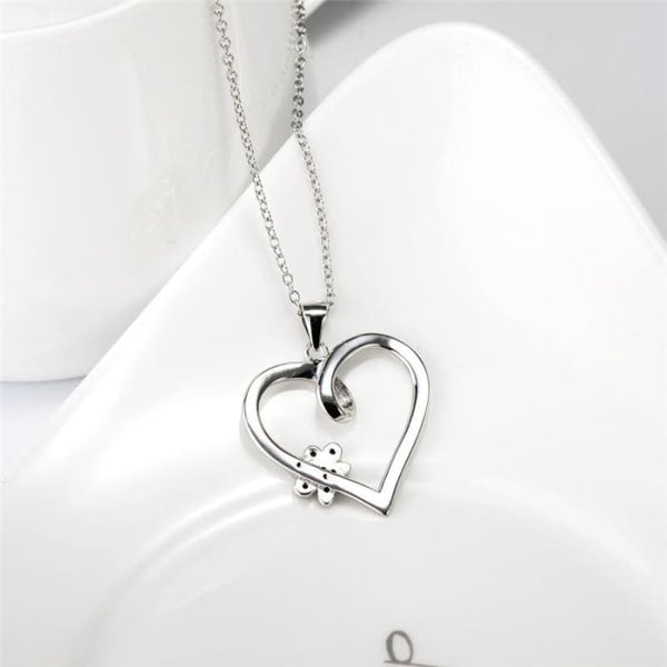 Yfn Brand Necklace 925 Sterling Silver Heart Necklace With Black Cz Dog Paw Charm Fashion Jewelry Best Gifts For Women Gnx10879 Necklaces