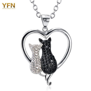 Yfn Cat Necklaces 925 Sterling Silver Jewelry Black White Crystal Cat Pendant Necklaces Women Silver Necklace Valentines Gnx8858 Necklaces