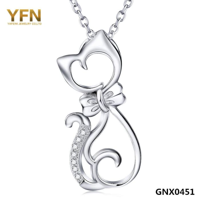 Yfn Fashion Jewelry 925 Sterling Silver Cat Necklace With Bowknot Wholesale Crystal Pendant Necklace Gifts For Women Gnx0451 Necklaces