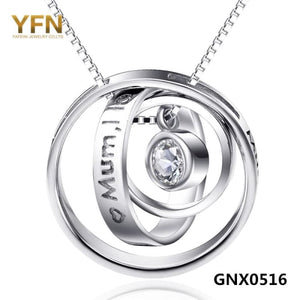 Yfn Fashion Jewelry 925 Sterling Silver Circles Necklaces & Pendants Mothers Gifts Love Necklace For Women Necklaces