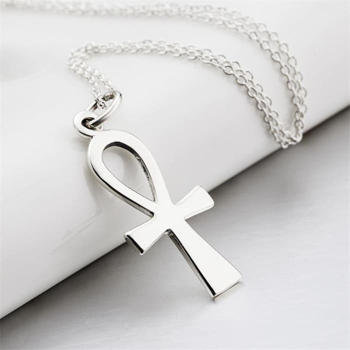 Yfn Genuine 925 Sterling Silver Egyptian Ankh Cross Pendant Necklaces Fashion Jewelry Collar Necklace Gifts For Women Gnx8769 Necklaces