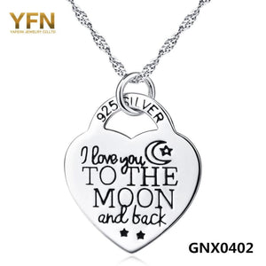 Yfn Genuine 925 Sterling Silver Heart Lock Pendant Necklace I Love You To The Moon And Back Women Jewelry Engraved Necklace Necklaces