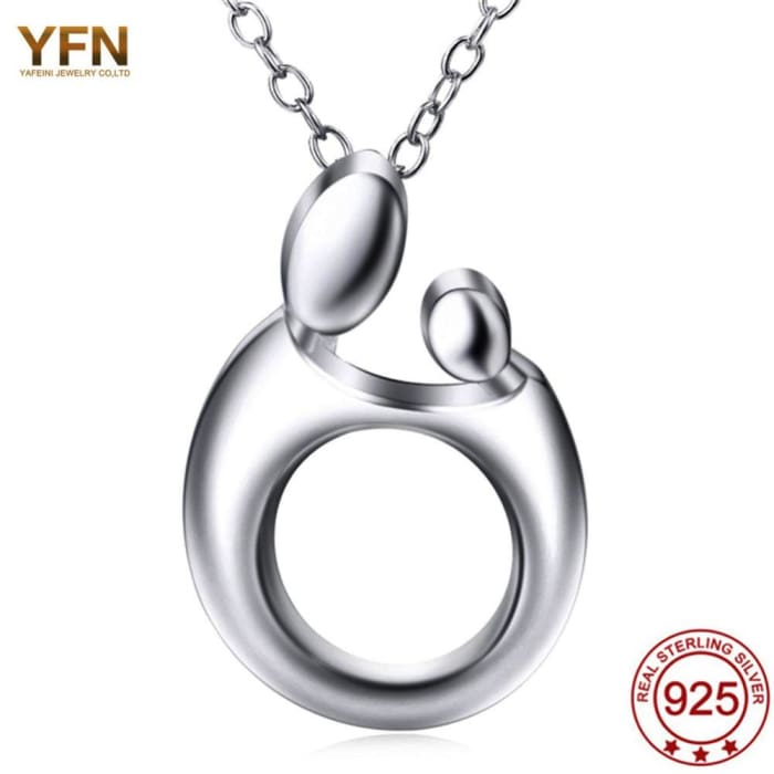 Yfn Genuine 925 Sterling Silver Pendant Necklaces Mothers Necklaces Gifts Mom Jewelry Love Family Simple Mama Sieraden Necklaces