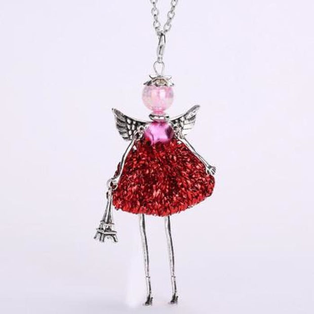 Ylwhjj New Women Doll Long Necklace Angel Wings Pendant Handmade Girl Lovely Maxi Necklaces & Pendants Brand Hot Fashion Jewelry Photo Color