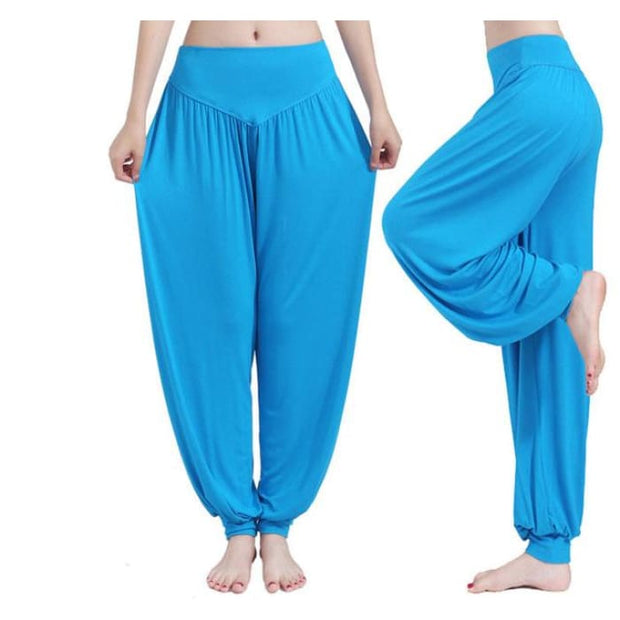 Yoga Pants Women Plus Size Colorful Bloomers Dance Yoga Blue / S Yoga Pants