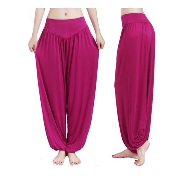 Yoga Pants Women Plus Size Colorful Bloomers Dance Yoga Purple Red / S Yoga Pants