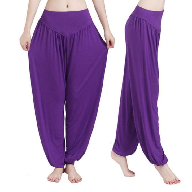 Yoga Pants Women Plus Size Colorful Bloomers Dance Yoga Purple / S Yoga Pants