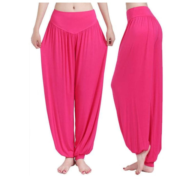 Yoga Pants Women Plus Size Colorful Bloomers Dance Yoga Rose / S Yoga Pants