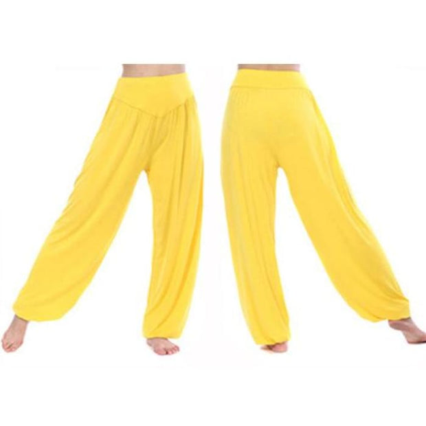 Yoga Pants Women Plus Size Colorful Bloomers Dance Yoga Yellow / S Yoga Pants