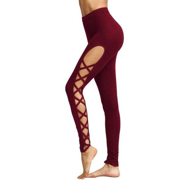Yoga Workout Pants High Waist Cutout Tights Leggings