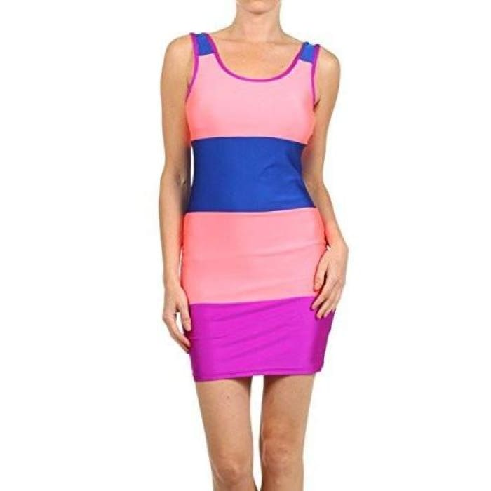 Yoyo 5 Neon Blue And Pink Body Hugging Shortsleeved Dress