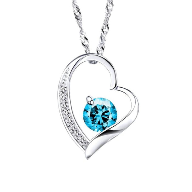Zeni Heart Necklace Women Fashion Charms 925 Sterling Silver Jewelry Necklaces & Pendants For Women 2016 Love At First Sight Blue Pendant