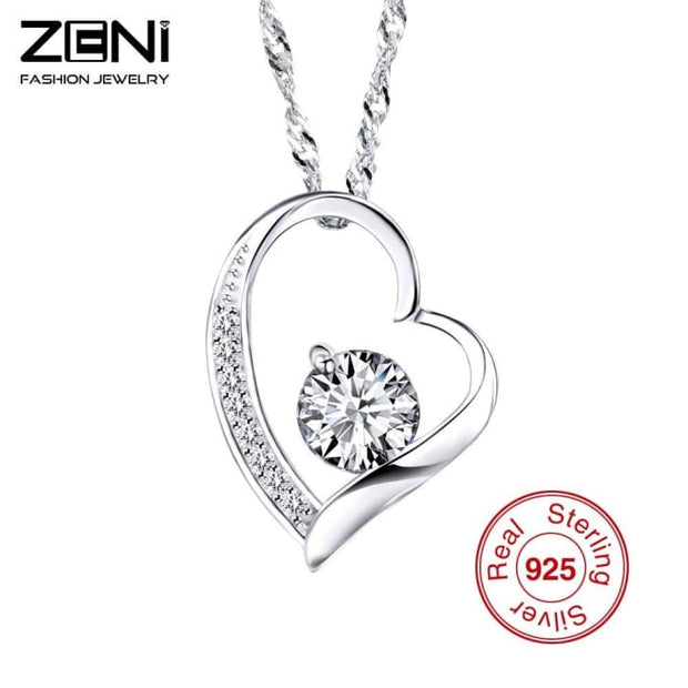 Zeni Heart Necklace Women Fashion Charms 925 Sterling Silver Jewelry Necklaces & Pendants For Women 2016 Love At First Sight Pendant