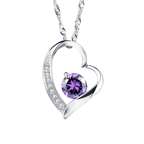 Zeni Heart Necklace Women Fashion Charms 925 Sterling Silver Jewelry Necklaces & Pendants For Women 2016 Love At First Sight Purple Pendant