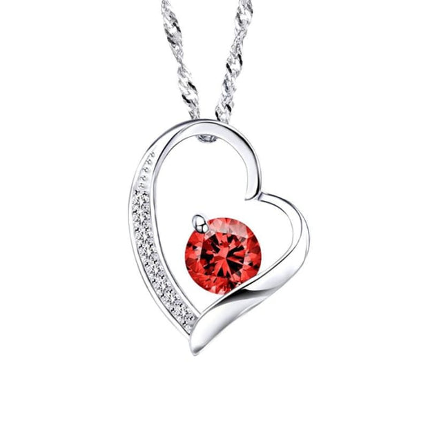 Zeni Heart Necklace Women Fashion Charms 925 Sterling Silver Jewelry Necklaces & Pendants For Women 2016 Love At First Sight Red Pendant