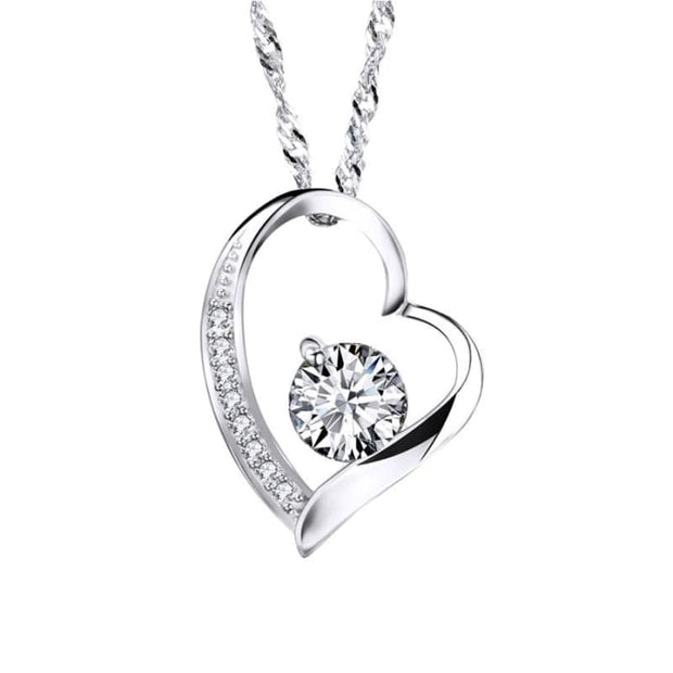 Zeni Heart Necklace Women Fashion Charms 925 Sterling Silver Jewelry Necklaces & Pendants For Women 2016 Love At First Sight White Pendant